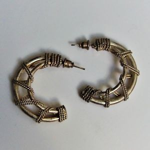VTG Chain Link Wire Wrapped Hoop Earrings